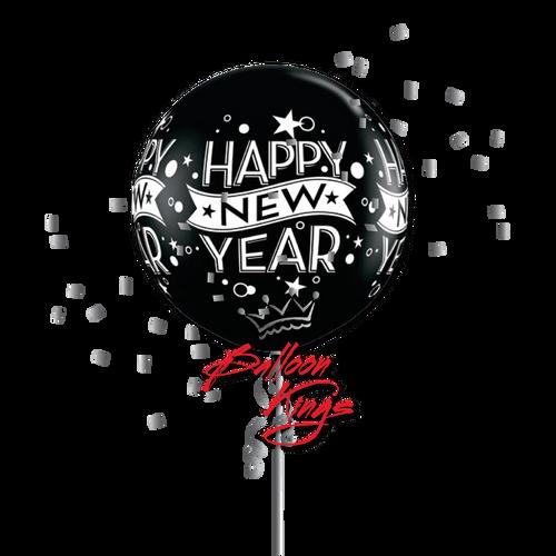 30in Latex Black New Year Confetti