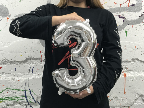 14in Silver Number 3