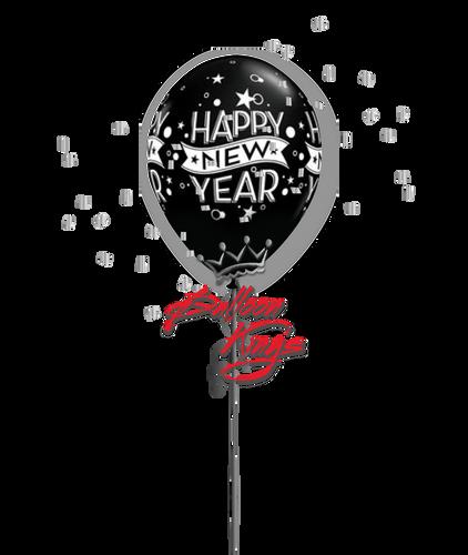 11in Latex New Year Confetti - Black