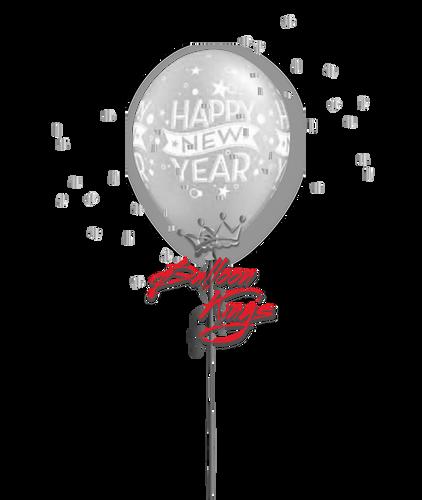 11in Latex New Year Confetti - Silver