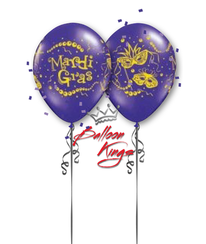 11in Latex Mardi Gras Mask - Purple