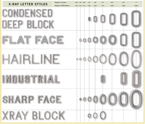 Lead Letters/Arrows/Numbers | X-Ray Markers | EljayXray.com