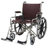 "Bariatric Wheelchair w/ Detachable Footrest (24"", burgundy)"