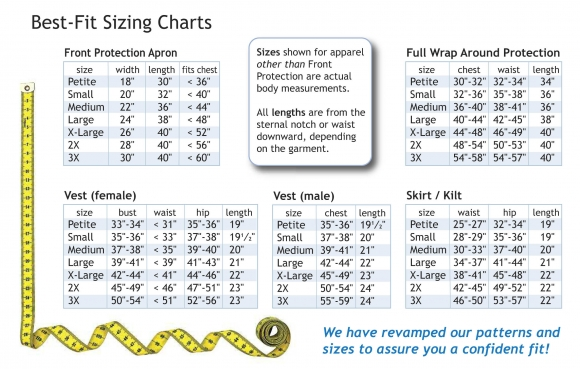 Techno Aide Best Fit Sizing Charts