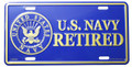 US Navy Retired License Plate