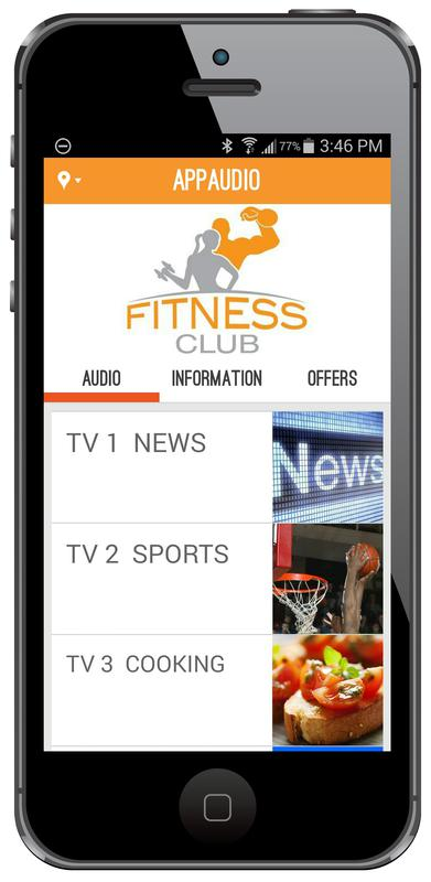 AppAudio 4 to 32-Channel Audio Broadcast System by MYE. Club TV Audio to Your Gym Member's Apple and Android Smartphones as They Exercise!
