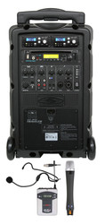Galaxy Audio GAL08COMBOCD TV8 AC/Battery-Powered 120 Watt Portable Sound System - Basic System + CD + 1 Handheld System + 1 Fitness Headset Mic System with Beltpack