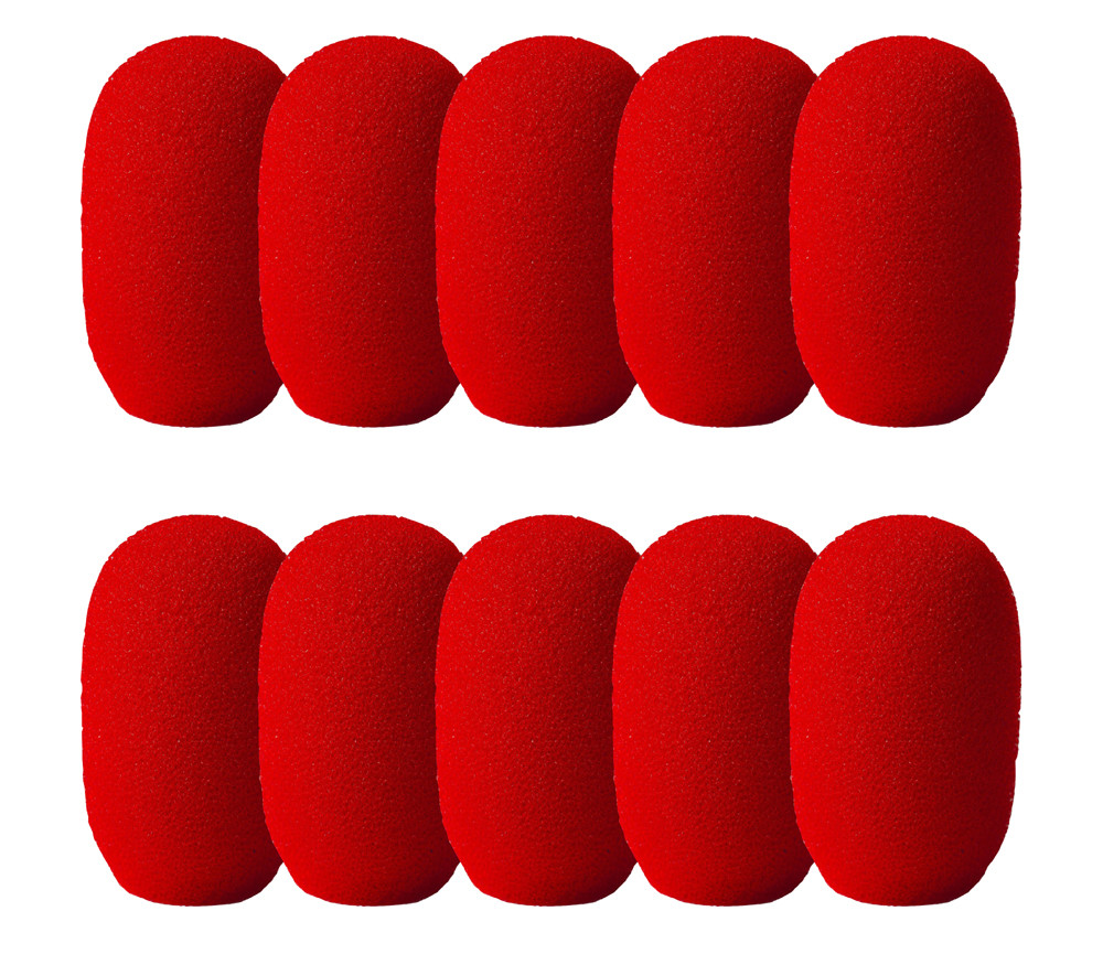 SupremeFit™ Headset Mic RED Foam Windscreens - SMALL - 10-PAK