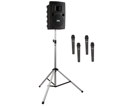 Anchor Audio Liberty LIB2-BP4 - BASIC Package 4 - Liberty Basic Package 4 includes LIB2-XU4, SS-550, and choice of 4 wireless handheld mics and/or headband and lapel mics with beltpacks