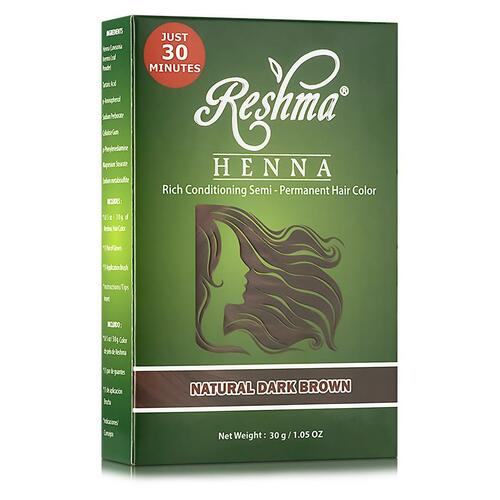 Reshma Beauty Henna Powder Rich Conditioning Semi-Permanent Hair Color - Natural Dark Brown (1.05 oz.)