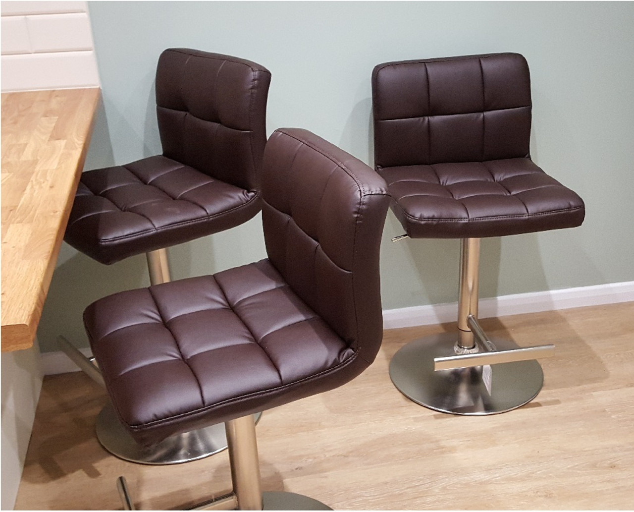 Allegro Brushed Chrome Bar Stool Brown Leather Bar