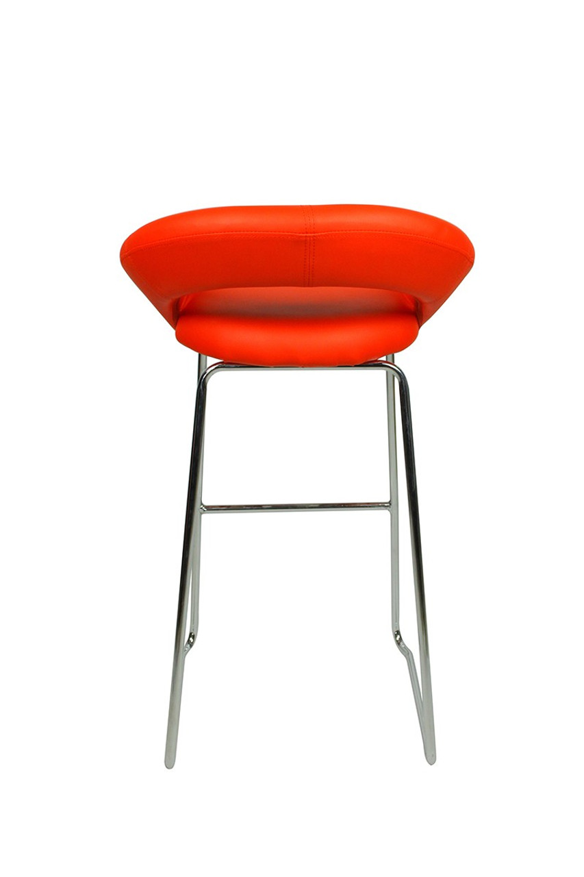 Sorrento Kitchen Fixed Height Curved Bar Stools Red