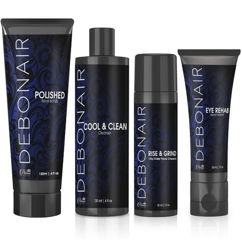 Debonair mens 4 piece face care set.  Cleanser, scrub, eye cream, face cream