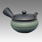 Tokoname Kyusu teapot - UKO - Green belt 270cc/ml - obi ami stainless steel net - Item Image