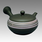 Tokoname Kyusu teapot - JINSUI - Purple spiral with streaks 330cc/ml - obi ami stainless steel net - Item Image