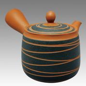 Tokoname Kyusu teapot - JINSUI - Strange Line Stage (B) 400cc/ml - obi ami stainless steel net