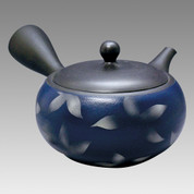 Tokoname Kyusu teapot - JINSUI - Navy blue Floral 340cc/ml - obi ami stainless steel net - Item Image