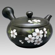 Tokoname Kyusu teapot - JINSUI - SAKURA (B) 340cc/ml - obi ami stainless steel net - Item Image