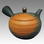 Tokoname Kyusu teapot - JINSUI - Strange Line Stage 300cc/ml - obi ami stainless steel net - Item Image