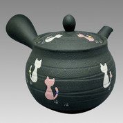 Tokoname Kyusu teapot - HAKUYO - Cat 300cc/ml - obi ami stainless steel net - Obi ami stainless steel net