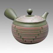 Tokoname Kyusu teapot - HAKUYO - Pink Line Stage 300cc/ml - obi ami stainless steel net - Item Image