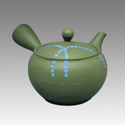 Tokoname Kyusu teapot - HAKUYO - Light Blue Dotted Line 300cc/ml - obi ami stainless steel net - Item Image