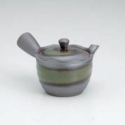 Banko-yaki Kyusu teapot - Green glaze stripe - 300cc/ml