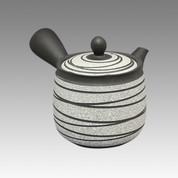 Tokoname Kyusu teapot - ZUISEN - Strange Line Stage 400cc/ml - obi ami stainless steel net - Item Image
