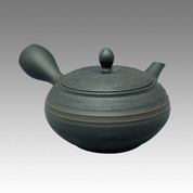 Tokoname Kyusu teapot - HORYU - Two Middle belt 330cc/ml - obi ami stainless steel net - Item Image