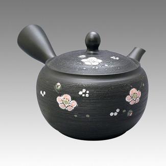 Tokoname Kyusu teapot - SHUNJYU - Cinnamon Plum 340cc/ml - obi ami stainless steel net - Item Image