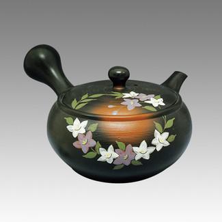 Tokoname Kyusu teapot - CHIKUSHUN - Bellflower 330cc/ml - obi ami stainless steel net - Item Image