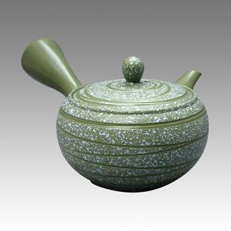 Tokoname Kyusu teapot - MORIMASA - Blue flow 300cc/ml - obi ami stainless steel net - Item Image