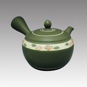 Tokoname Kyusu teapot - SHUNJYU - White Line 340cc/ml - obi ami stainless steel net - Item Image