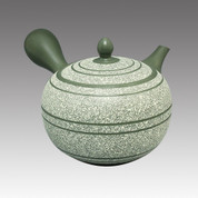Tokoname Kyusu teapot - SHUNJYU - White Line 540cc/ml - obi ami stainless steel net - Item Image