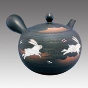 Tokoname Kyusu teapot - SHUNJYU - Rabbit 530cc/ml - obi ami stainless steel net - Item Image