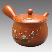 Tokoname Kyusu teapot - MAMIYA - White Plum 330cc/ml - Refresh stainless steel net - Item Image