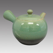 Tokoname Kyusu teapot - ISSIN - Green glaze 360cc/ml - Refresh stainless steel net - Item Image