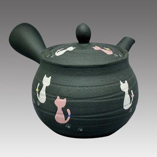 Tokoname Kyusu teapot - HAKUYO - Cat 300cc/ml - Refresh stainless steel net - Item Image