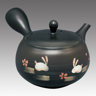 Tokoname Kyusu teapot - SYUJYU - Rabbit & SAKURA 350cc/ml - Refresh stainless steel net - Item Image