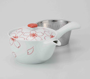 Hasami Porcelain : SAKURA - Kyusu tea pot w Stainless steel net