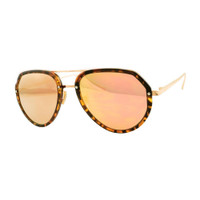Jaclyn Plastic and. Metal Mirrored Sunglass-Tortoise/Rose