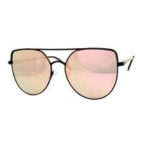 Lucy Metal Mirrored Aviator-Black/Rose