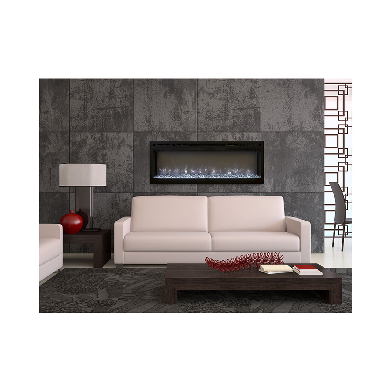 flames spectrum 74 inch linear electric fireplace sl74 b