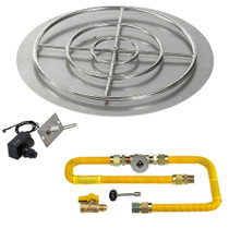 "American Fireglass Round 36"" Flat Pan with Spark Ignition Kit"
