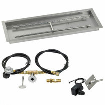 "American Fireglass 36""x12"" Rectangular Drop-In Pan w/Spark Ignition Kit"
