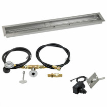 "American Fireglass 48""x6"" Linear Drop-In Pan w/ Spark Ignition Kit - Propane"