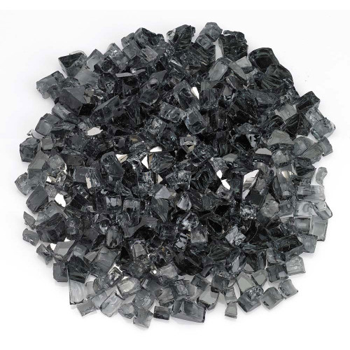 "American Fireglass 1/2"" Gray Reflective Fire Glass 10lbs"