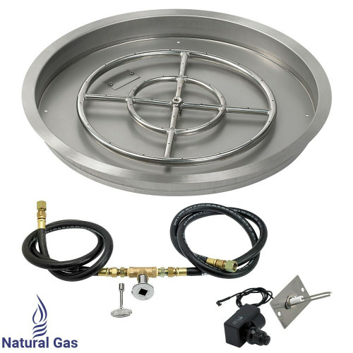 """American Fireglass 25"""" Round drop-in Pan Spark Ignition- NG"""