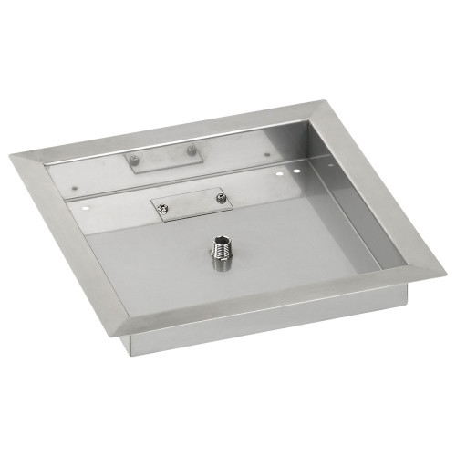 """American Fireglass 12"""" Square Stainless Steel Drop-In Fire Pit Pan"""