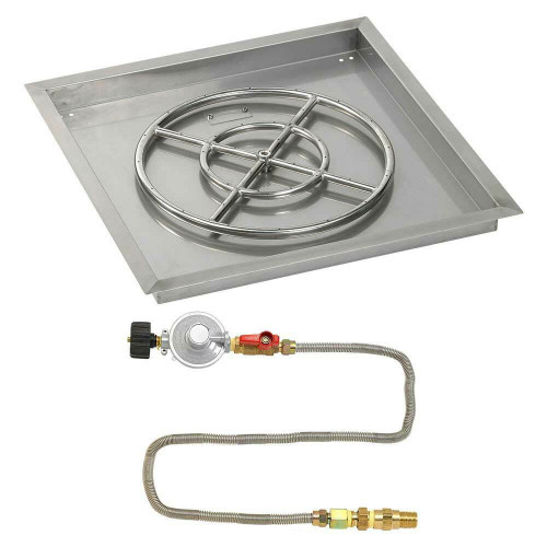 """American Fireglass 24"""" Square Drop-In Pan with Match Lite Kit - Propane"""